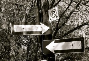 Signs pointing both ways