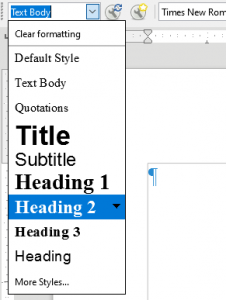 Choosing a heading style in LibreOffice