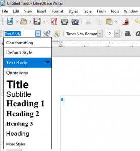 Headings menu in LibreOffice