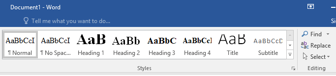 Headings menu in Word